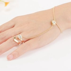 Jewelry - PREVIEW Gold Boho Hand Chain Linked Bracelet Ring
